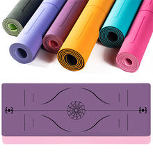 Wholesale Fitness Double Sided Custom Logo 6mm TPE Yoga Mat with Position Line