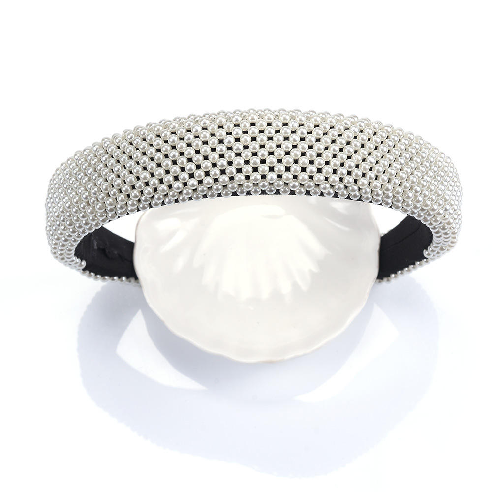 Hot style hjigh quality Girls baroque Luxury designer pearl hair band vintage padded wide high quality fabric headebands