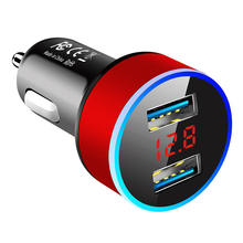 High Quality Abs Flame Retardant Aluminum Alloy 2 In 1 Vehicle Usb Car Charger With Multi Function Display