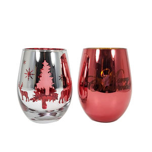 wholesale custom logo personalized handpainted stemless wine glass tumbler set with Christmas designs