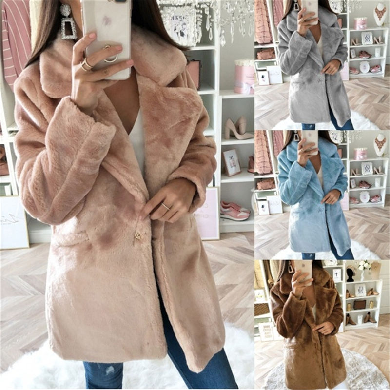 Wholesale Latest New Fashion Design Women Solid Jacket Winter Casual Long Faux Fur Coat