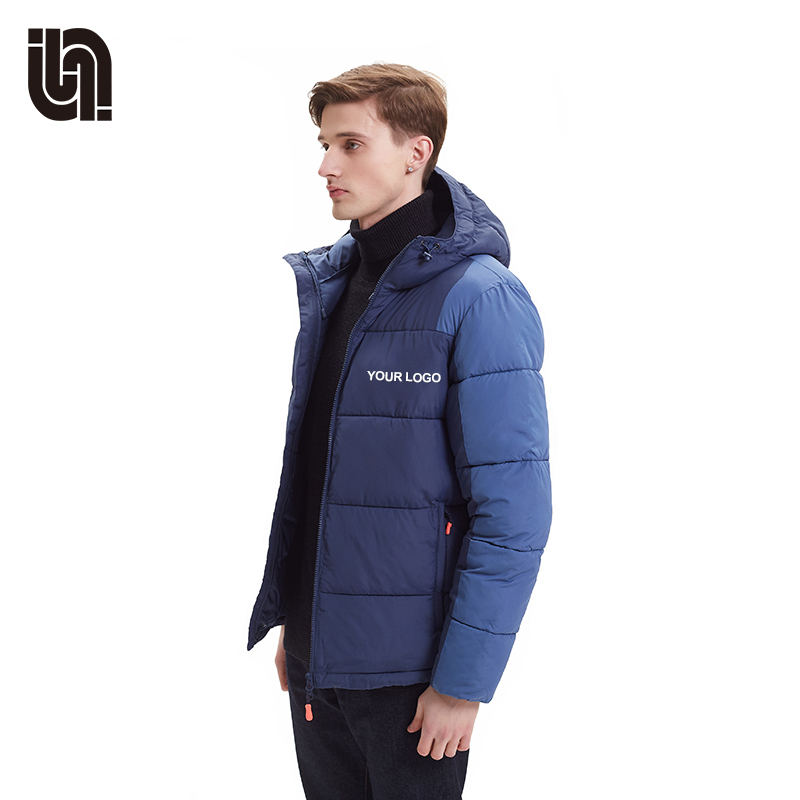 2020 top quality custom winter blue puffer jacket mens hooded clothing casual coat
