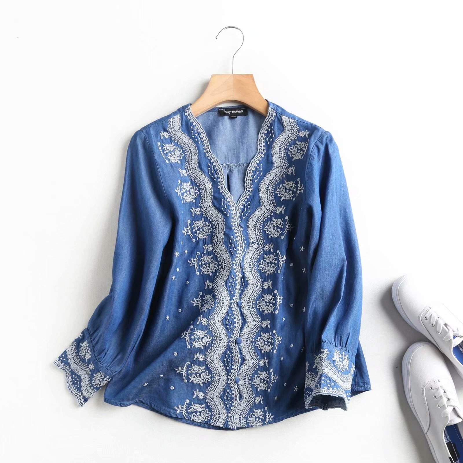2020 spring new Tencel denim national style artistic temperament shirt women