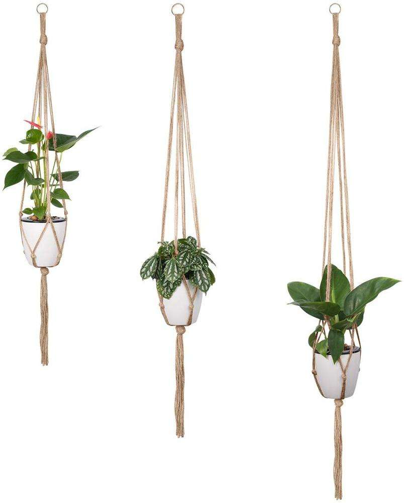 Macrame Plant Hangers 100% Jute Rope Indoor Outdoor Home Decor Wedding Hotel Hand-woven Wall Hanging Handmade Flower Pot