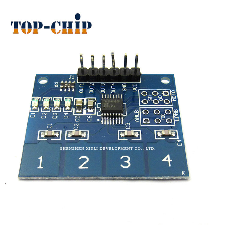 4-channel TTP224 capacitive touch module Human touch switch Digital touch sensor module