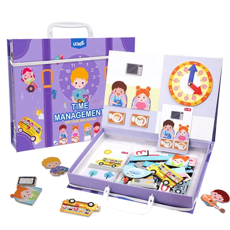 Toddlers Kids Cognitive Learning Toys Daily Behavior Record Time Matching Games Magnet Clock Jigsaw Puzzle