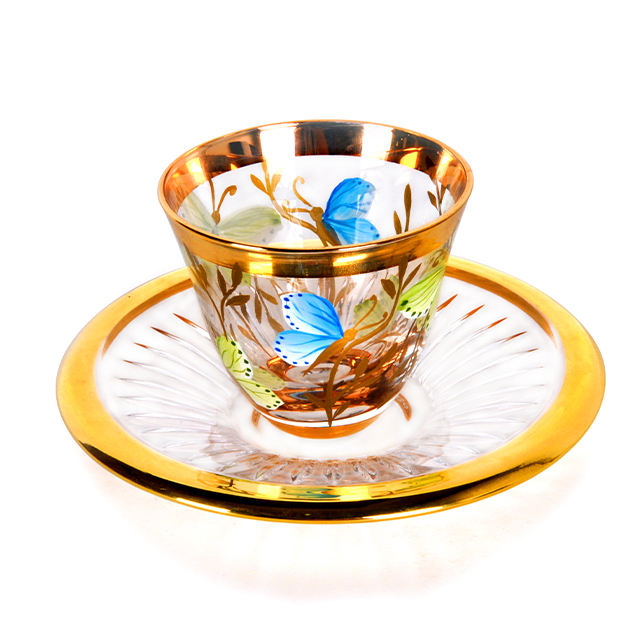 Arabic style real gold coffee tea cups saucer set golden painting glass cup