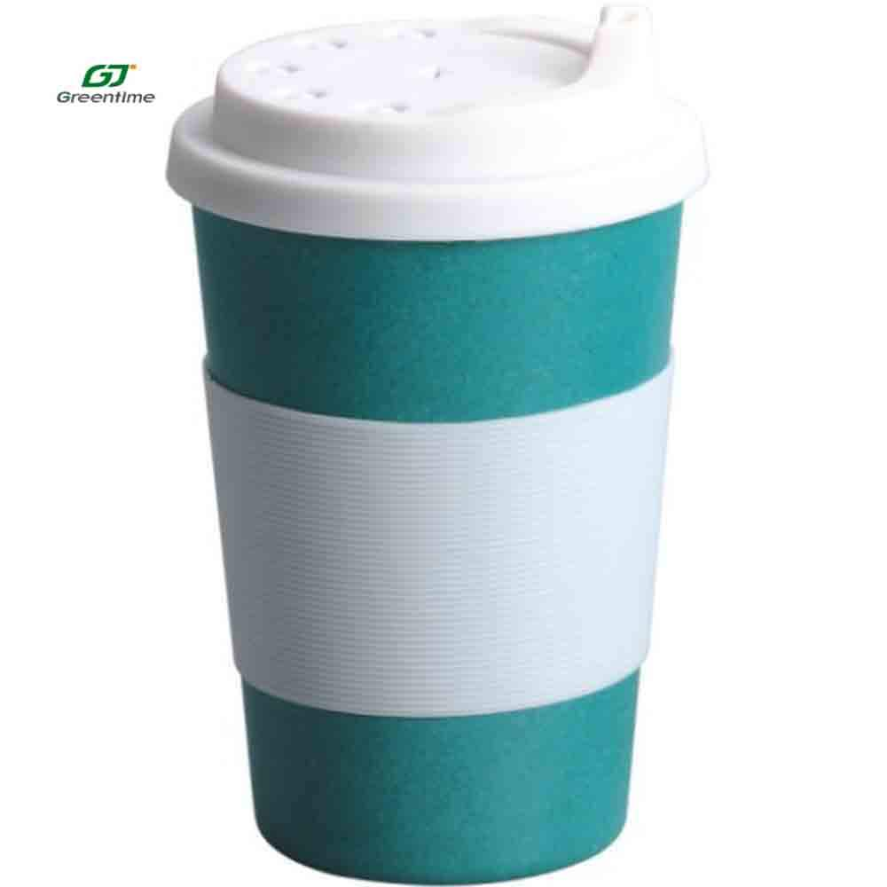 handcrafted bamboo fiber travel Coffee 10 oz reusable drinking cup