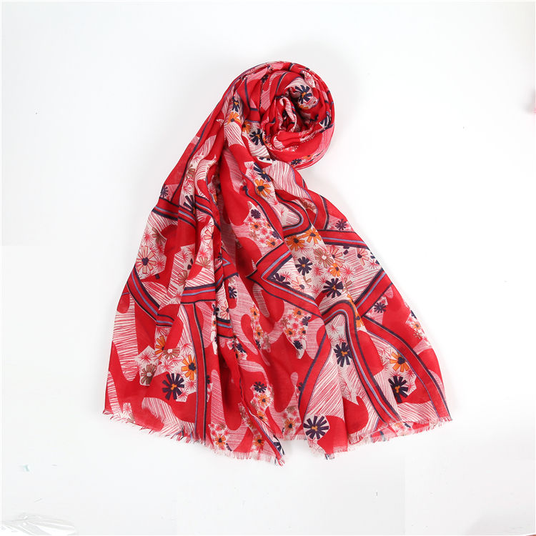 Women Fashion Warm Scarf Design Large Cross Flowers Feeling Soft Polyeste Scarf