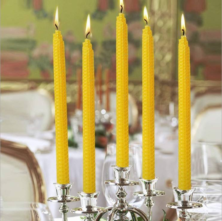 hot sale wholesale taper religious long burning luxury pillar beeswax candle/candel 100% pure