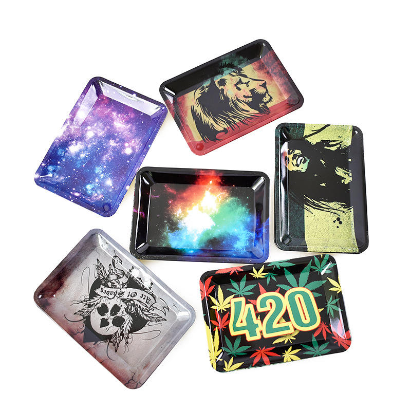 Factory Wholesale Weed Smoking Tobacco Metal Tin Rolling Tray In Stock