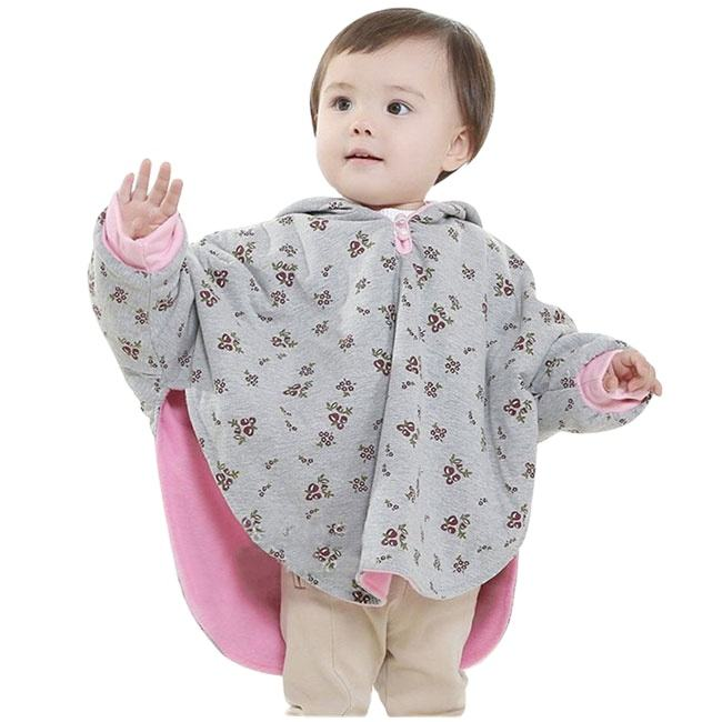 Toddler poncho cover up cape reversible 100% cotton baby hooded cloak