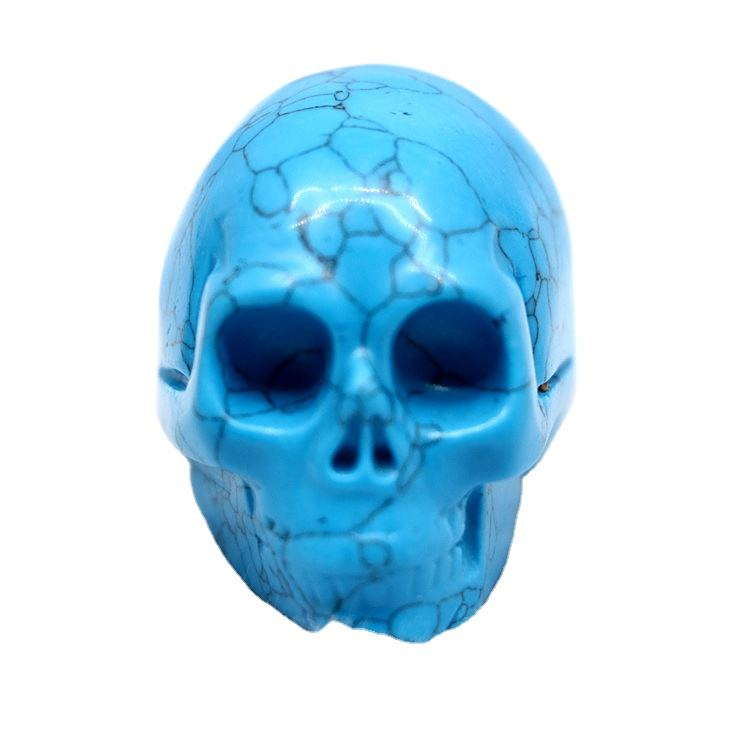 Robin Crystal Wholesale Blue Turquoise Gemstone Carved Quartz Skeleton Skulls Crafts Crystal Skulls for healing