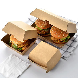Eco friendly disposable kraft paper hamburger box takeaway packing fast food