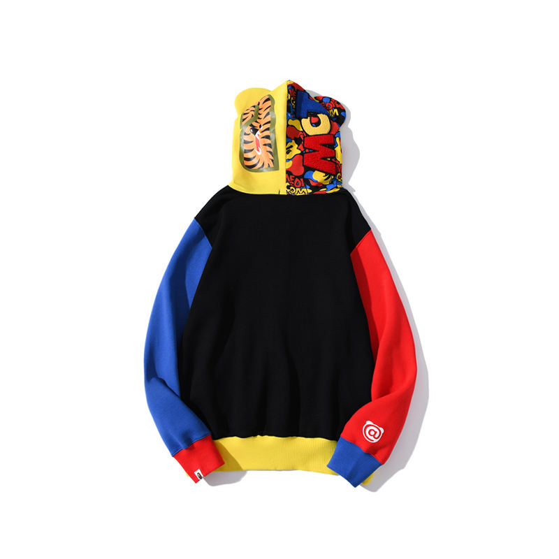 2021 Hot Sale BAPE new type Camouflage Red Yellow Blue Combination Zip Hoodies With Asian Size