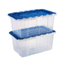 57 L Clear Body Nice Color Lid Factory Direct Plastic Tote Box