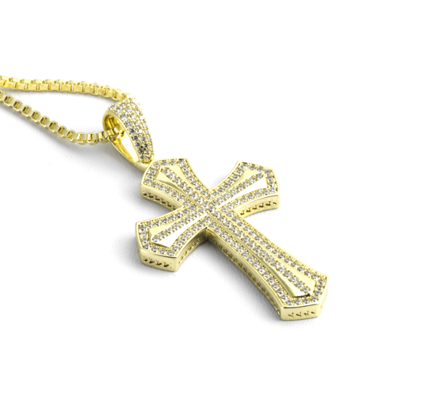 2020 Newest Designs Bling Bling 18K Gold Plated Cross Pendant Men Jewelry Men Charms