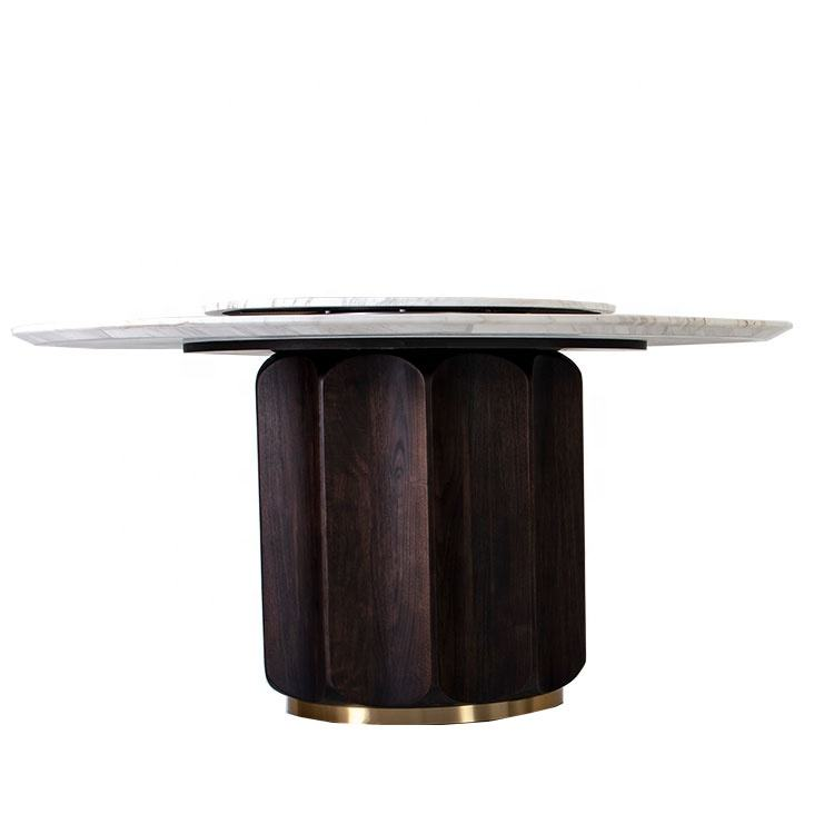 AJJ hot luxury italian furniture living room table wooditalian marble dining table round hotel dining table KT34