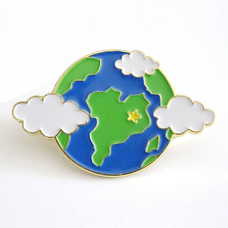 custom earth pin gold lapel pin