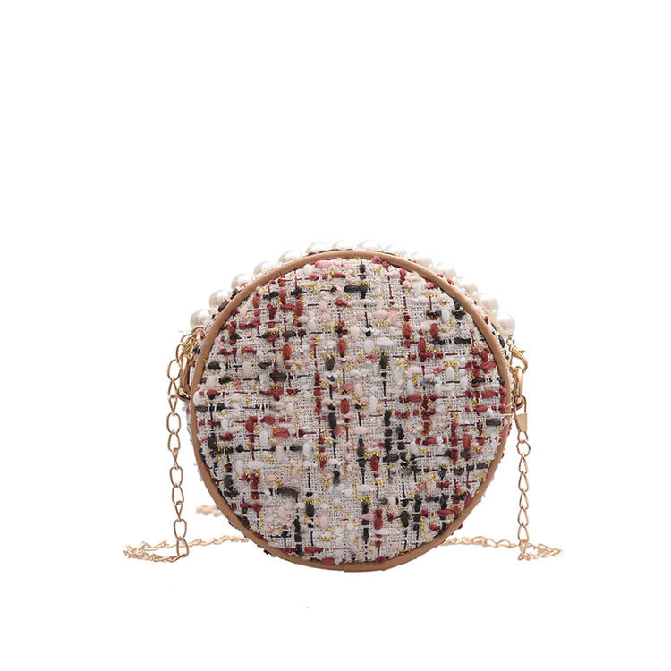 2019 New Small Crowdsourcing Female Hyun-A Kim With Woven Women'S Bags Ins Fashion Korean Pearl Woven Small Round Bag