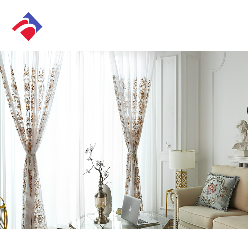 wholesale fashion embroidered flower home window curtain sheer fabric