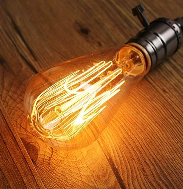 Vintage edison light bulb ST64 Dimmable 40w 60w warm light squirrel cage clear&gold glass E26 E27 Base 110-240v