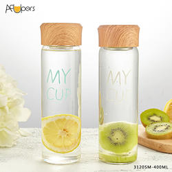 400ml High borosilicate single-wall glass water bottle with wooden lid and portable linen bag