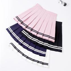 mini pleated dance skirt  baseball  skirt fashion  striped tennis skirt with high waist tennis uniform