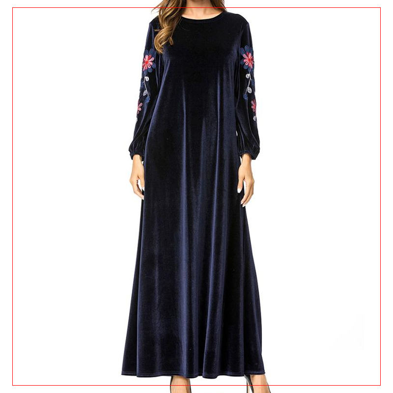 The Latest Design Islamic Clothing Abaya Style Floral Embroidery Muslim Women Party Dress In Malaysia