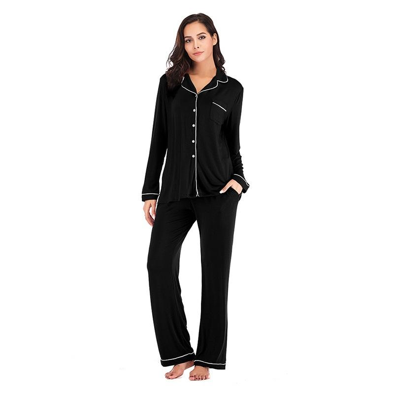 Autumn Lady Cotton Pajama Lounge Wear Rayon Viscose Home Wear Female Modal Women's Sleepwear Bamboo Pajamas