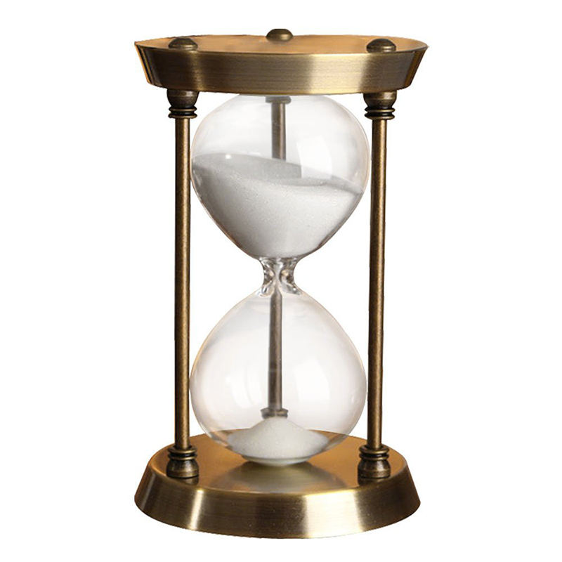 Factory 60 minute metal brass antique hourglass sand clock for gift souvenir