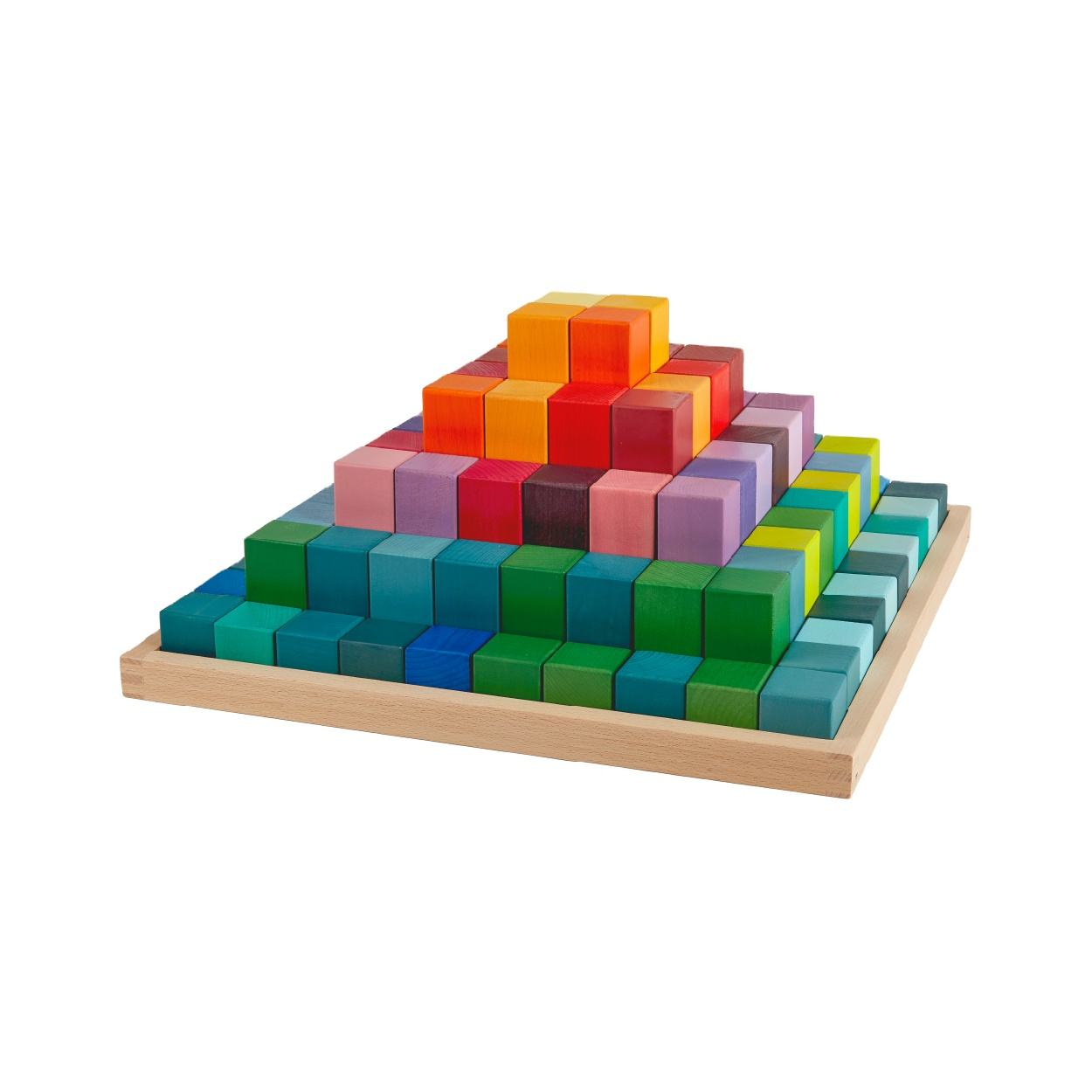 Rainbow Pyramid Infants Wooden Toys Set Kids Educational Early Teaching Diy Toy 100 pcs Rainbow Blocks