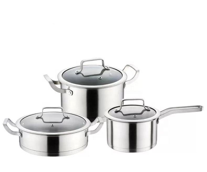 3pcs eco - friendly Double Bottom multifunction cookware 304 stainless steel cooking pots set