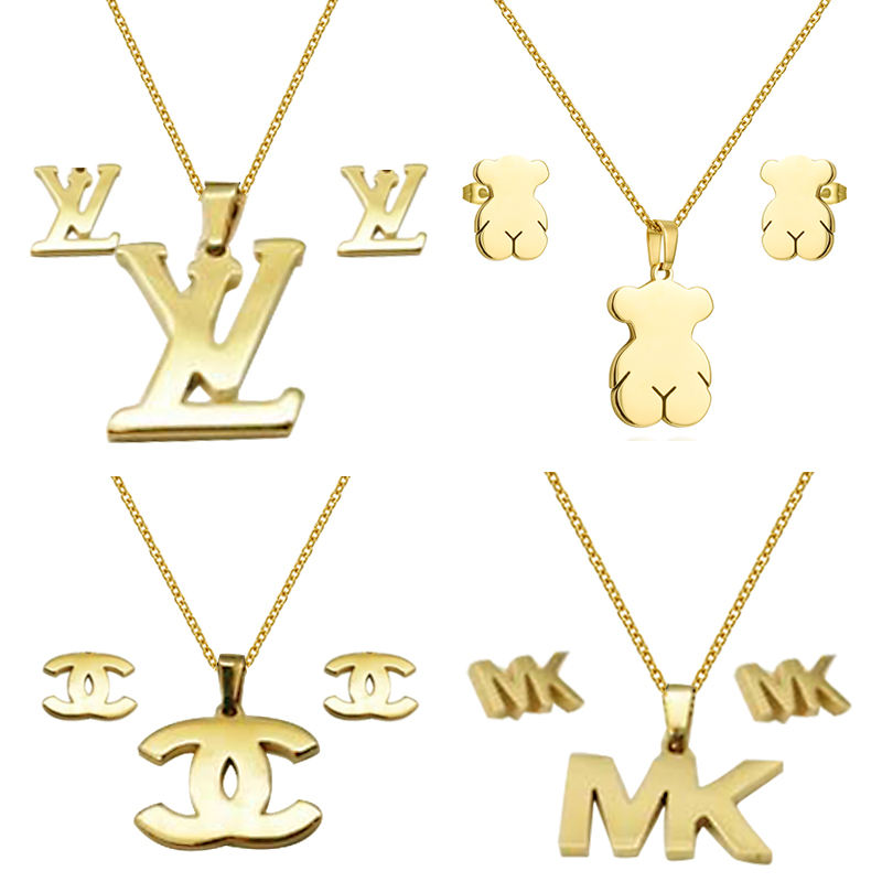 Fashion Jewelry Gold Plated Women's Bear Stainless Steel Jewelry Set