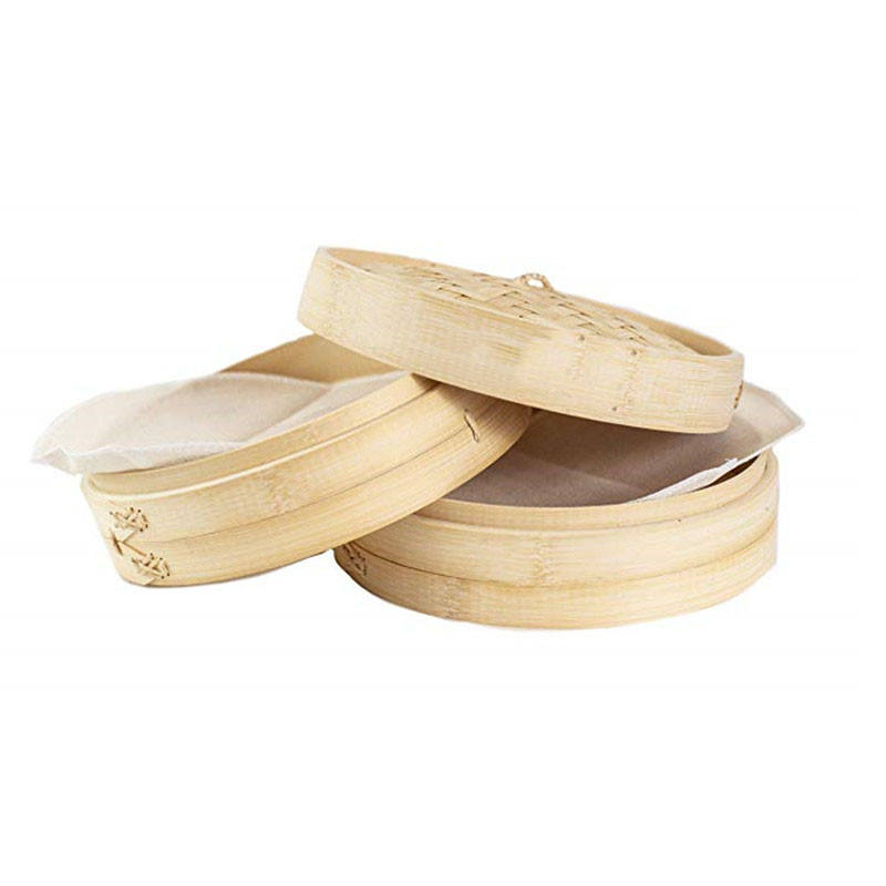Kitchenware 10 Inch Handmade Bamboo Steamer 2 Tier Baskets Healthy Cooking for Vegetables Dim Sum Dumplings