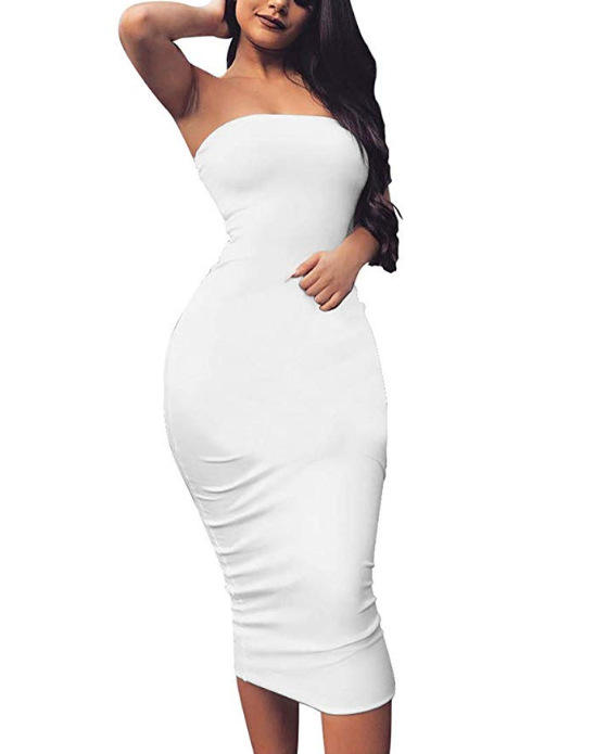 Women Solid Color Strapless Dress Hip wrapped Bodycon backless Pencil Dress