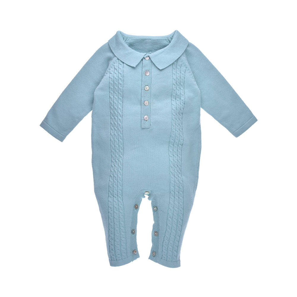 Wholesale Turn Down Collar Cable Rib Knitted Winter Baby Boys Clothes <span class=keywords><strong>Crochet</strong></span> Romper Newborn