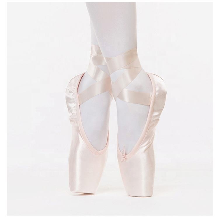 Professional Pointe Ballet Shoes Shiny Satin Rose Gold Dance Shoes For Girl Adult