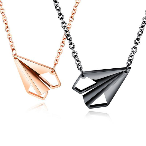 Fashion popular design Lovers Necklace titanium steel heart paper airplane lovers chain men and women students accessories