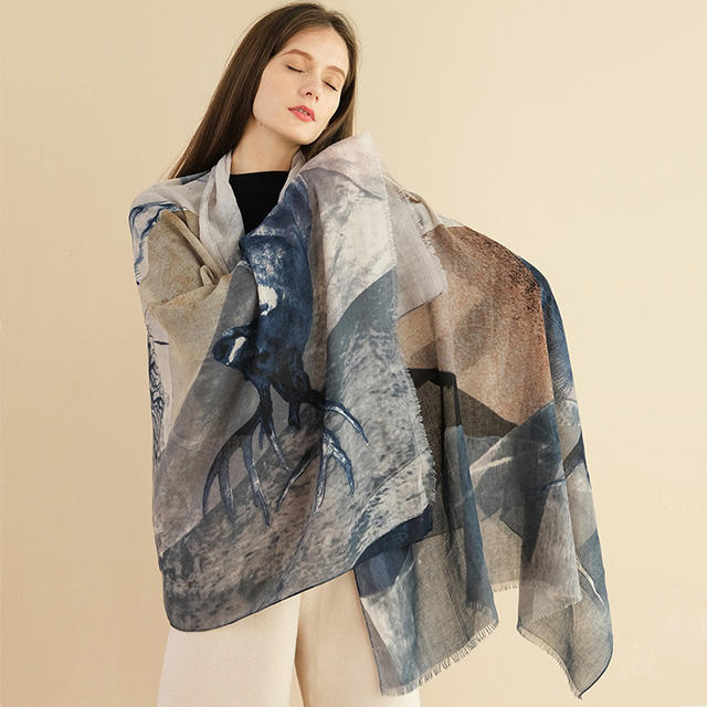 2020 latest design female autumn and winter antelope printing cotton spinning ladies shawl fashion scarf