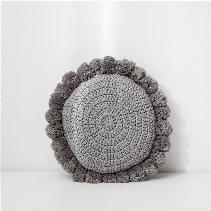 New fashion W9291 Knitted Throw Pillow with Pom-poms Round Solid Cushion Decorative Tassel Fringe Pillowcase for Bed Sofa