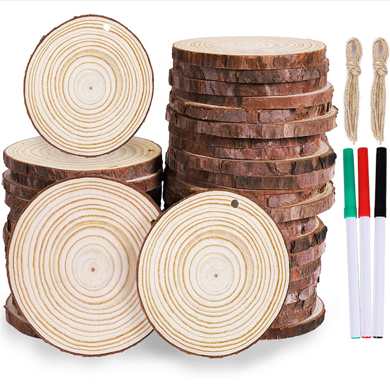 unfinished natural wood slices craft wood kit ornaments predrilled with hole wooden circles for chirstmas holiday