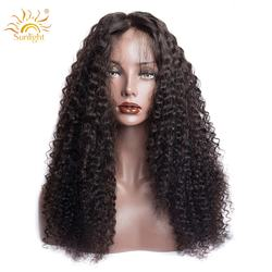 Sunlight Brazilian Curly Human Hair Wig 13x4 Pre Plucked Rem