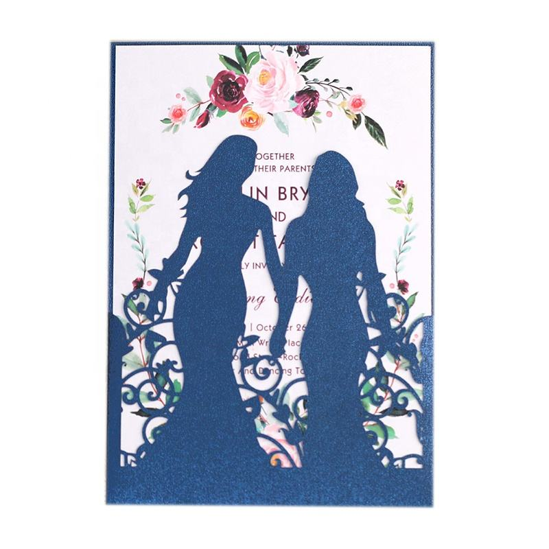 Laser Cut Girl Printing Greeting Cards Pocket Wedding Invitation Card For Party Decor