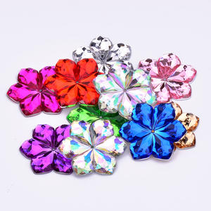 28mm Big Size Sewing Mix Color Flowers Acrylic Crystal Flatback Gems Sew On Strass Applique Rhinestone for Clothes Crafts