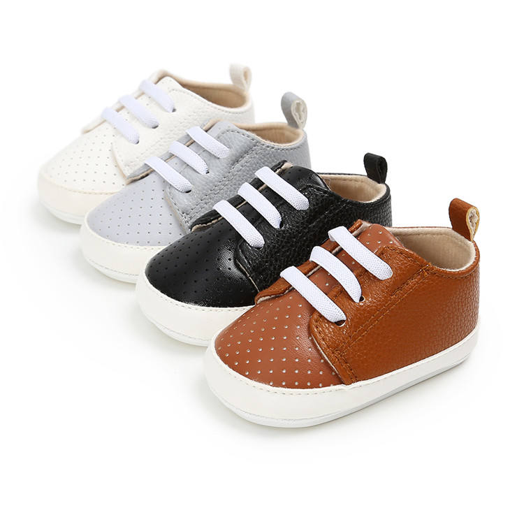 PU leather Baby Boys Girls Shoes Soft Sole Lace Up Sneakers Sports Shoes Casual Shoes Drop Shipping