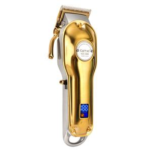 Kemei KM-1986 Gold And Silver Professional Rechargeable Hair Clippe Cutter Head Adjustable LCD Display Electric Hair Trimmer