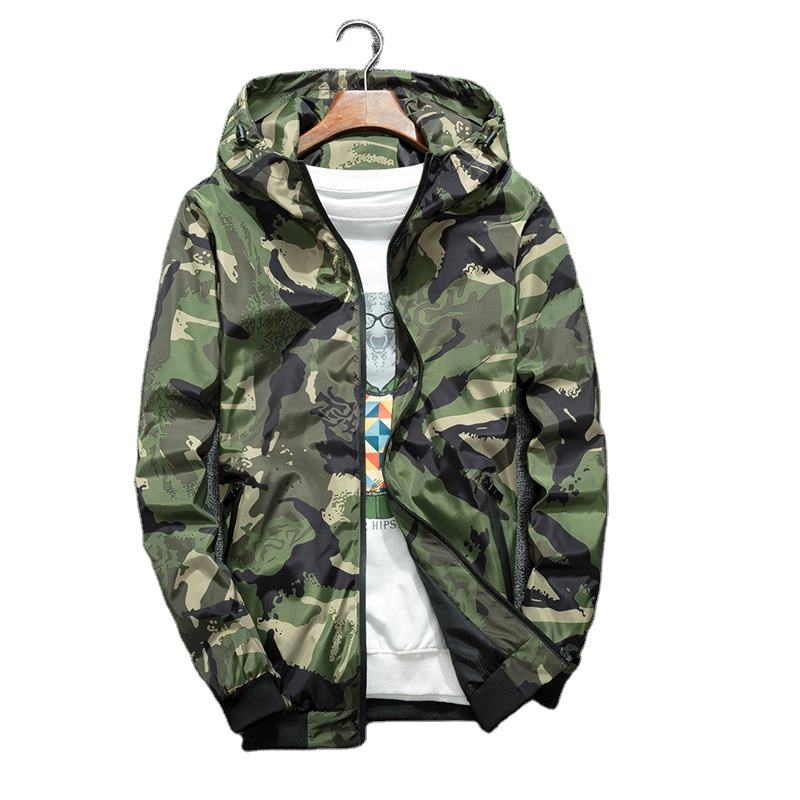 Cheap Windbreaker Jackets Men Casual Spring Hooded Camouflage Jacket Men Streetwear Hip hop Sportwear Camo Army Jacket Clothes