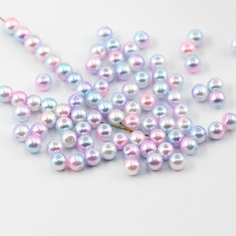 6mm-12mm Gradient Colors ABS Vintage Style Smooth Round Holes Loose Beads Pearls for Necklace Bracelet DIY Accessories