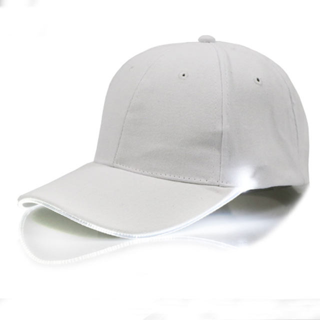 Hip Pop White Led Luminous Hat New Fiber Optic Sun Visor Baseball Cap Sun Hat